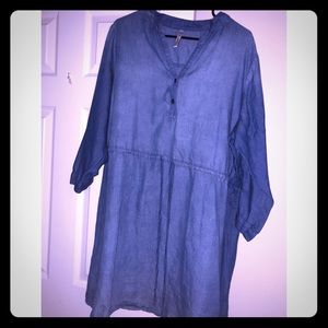 Tops - 2X Denim colored blouse. Will be great for fall.
